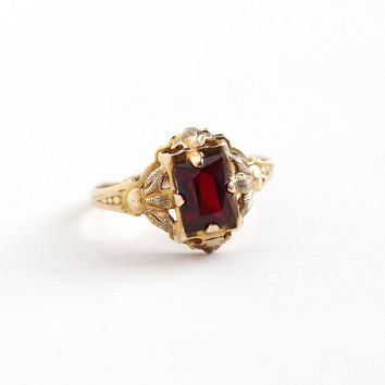 Vintage 10k Yellow Gold Created Ruby Ring - Size 4 1/2 Art Deco 1930s Dark Red Lab Created Stone Filigree H OF K House of Kraus Fine Jewelry