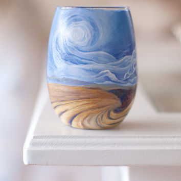 Van Gogh hand painted glass: hand painted stemless wine glass/ tumbler