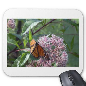Butterfly with Flowers Photo Mouse Pad