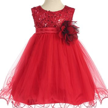 Baby Girls Red Sequin Party Dress w. Lettuce Tulle Hem 3-24m