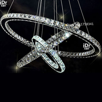 Stainless Steel 3 Circles 65W Led K9 Crystal Chandelier Hot Diamond Ring Modern Pendant Lamp Upscale Atmosphere