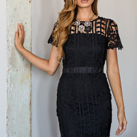 Lexie Black Floral Lace Dress