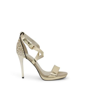 Yellow Ankle Strap Round Toe Leather Sandals