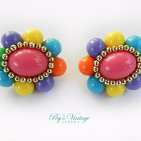 Vintage Multi Colored CLUSTER Bead Clip Earrings, Pink, Blue, Purple, Yellow And Green Earrings