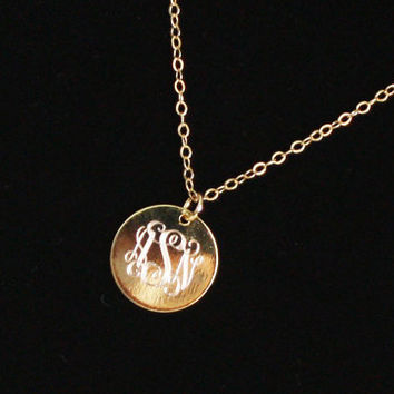 Monogram Necklace, Three Letter Monogram Disc, Personalized Necklace- Initials, Name, Sorority Greek Letters