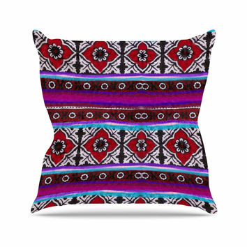"S Seema Z ""SINDHI AJRAK"" Purple Pattern Throw Pillow"