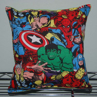 Marvel Pillow Grouped HANDMADE Cotton/Flannel ,Travel , Daycare , NEW Hulk , Iron man , Captain America , Wolverine , Spiderman