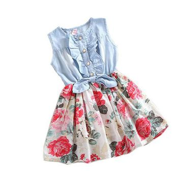 Summer baby girl dress flower Cowboys Cotton Tutu Denim Dresses kids Sleeveless O-Neck bow princess Clothing Bow knot Dress 2-6Y