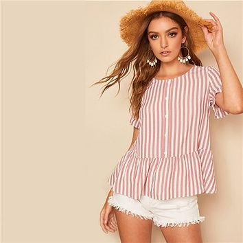 SHEIN Boho Pink Ruffle Cuff and Hem Button Front Striped Top Peplum Blouse Women