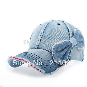 Hot selling  Autumn winter male women denim water wash bow sunbonnet sun hat baseball cap woman man bow jeans hat R93