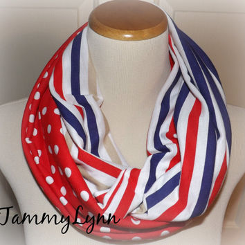 Red White Blue Stripe Scarf Mix Red with White Polka Dots USA Spring Infinity Scarf Women's Accessories
