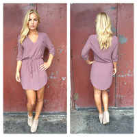 Mauve Drawstring 3/4 Slv Dress
