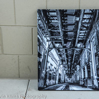 Under the El Tracks - Chicago Art - 16x20 black and white gallery wrapped canvas