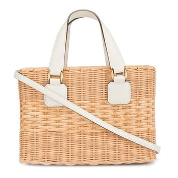 Mark Cross Manray Small Tote Bag - White Rattan Saffiano Calf Leather Tote Bag