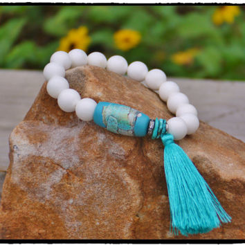 Aqua Clay Bead with Turquoise and Pave White Topaz Rondelle Tassel and STUNNING 12mm White Tridacna Stretch Bracelet, Boho Beach Chic Beauty