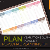 Year At One Glance, Perpetual Planner, Important Dates Calendar || Pastel Printable PDF Planner Organizer DIY || Household PDF Printables