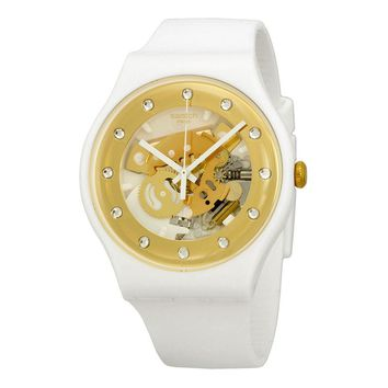 Swatch Originals Sunray Glam Skeleton Dial White Plastic Mens Watch SUOZ148