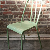 Retro metal chair - model VIEUX LILLE - GREEN distressed look