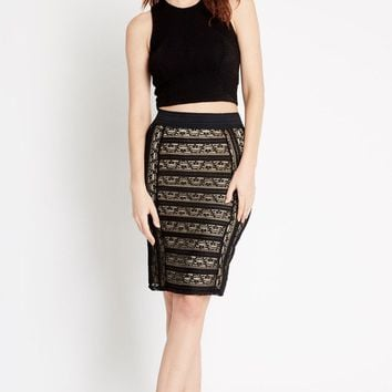 Black Admiration Lace Midi Skirt