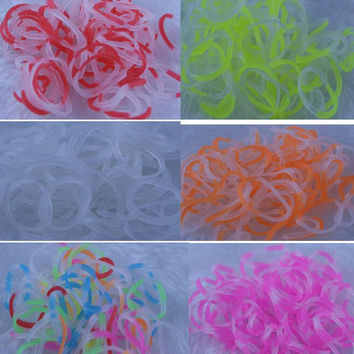 Clear transparent crystal Rainbow Loom Kit DIY Wrist refill rubber Bands charm Bracelet for kids (600 pcs bands + 24pcs S or C-clips)