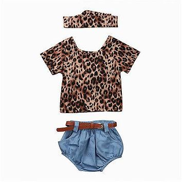 T-Shirt Tops Shorts Jeans Headhand Clothing Set 3pcs Newborn Baby Girls Clothes Sets Leopard Short Sleeve
