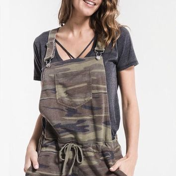 "Z Supply ""Camo Short Overalls""- Green"