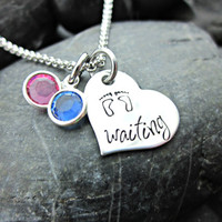 Waiting - Infertility and Adoption Necklace - Heart with Baby Feet and Blue and Pink Crystals