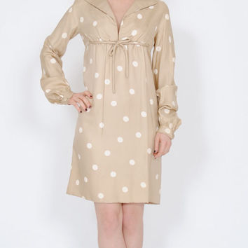 FLASH SALE . 40% OFF . Vintage Nina Ricci Dress . 1960s Silk Dress . 60s Polka Dot Dress