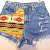 Vintage High Waisted Denim Shorts Front & Back Southwestern Waist  27   Inch