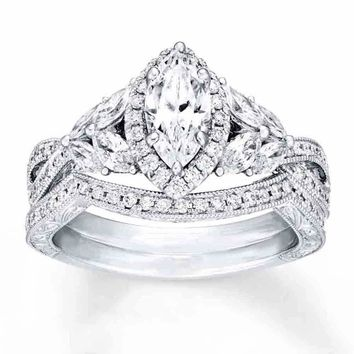 Sterling Silver .925 CZ Marquise Art Deco Engagement Ring Wedding Band Set 5-10