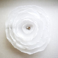 White Wedding Hair Accessories, Flower, Rose, Hair Piece, Vintage Bronze Pin, White Floral Weddings, Free Shipping to EU, US, CAN