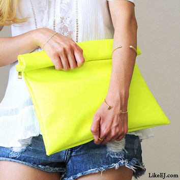 Handmade of Neon Yellow Pop Clutch