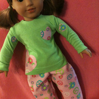 Trendy PJ set for American Girl Dolls-Handmade Peace Pajamas-Lime Green Top is a Repurposed Like New Shirt for Your 18 Inch Doll