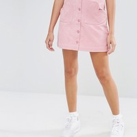 Lazy Oaf Button Front Mini Skirt With Heart Pockets In Cord