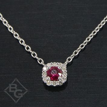 Ben Garelick Cushion Halo Ruby & Diamond Pendant