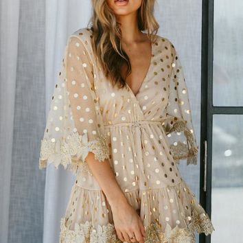 Dot Sequined Mesh Flare Sleeve Backless Mini Dress V Neck Dress Embroidery High Wasit Tie Up Party Beach Dress Women 2018