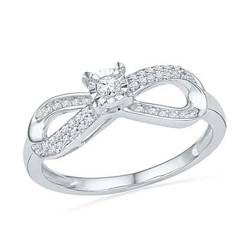 10kt White Gold Women's Round Diamond Infinity Promise Bridal Ring 1/5 Cttw - FREE Shipping (US/CAN)