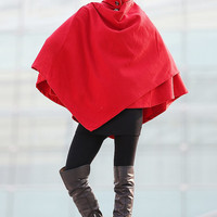 red cape 100% wool cape coat-CF110