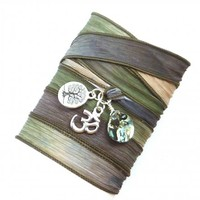 Abalone Shell Silk Wrap Bracelet with Om and Tree of Life