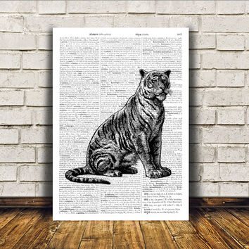 Animal art Tiger poster Dictionary print Modern decor RTA417