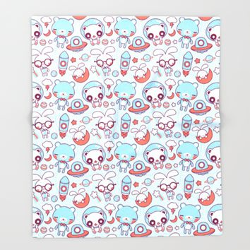 Kawaii Pattern Throw Blanket by Pamela Barbieri