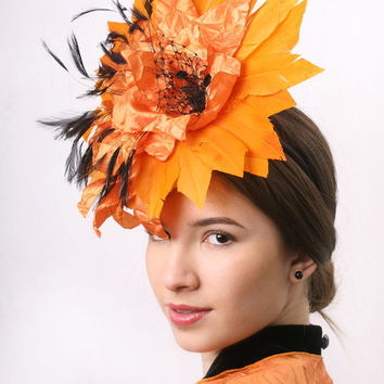Orange Fascinator Hat for Kentucky derby, royal ascot and Melbourne cup, Wedding party headpiece satin flower with black and orange feathers