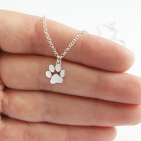 Paw Print Necklace - Sterling Silver Neclace - Cat and Dog Paw - Paw Charm - Animal Jewelry