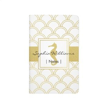 Seahorse Faux Gold Retro Nautical Pattern Modern Journal