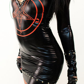Pentagram Wetlook Dress - Minidress Shirt Longshirt Alchemy Witch Witchcraft Witchdress Gothicdress Leatherdress Latexdress Rubberdress sexy