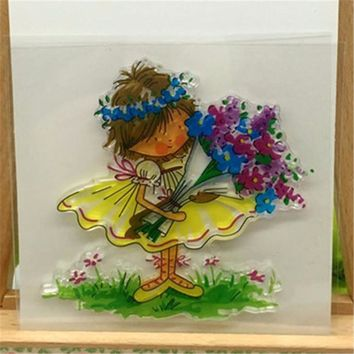Baby Girl with Flowers Transparent Clear Stamp DIY Silicone Seals Scrapbooking/Card Making/Photo Album Decoration Accessories