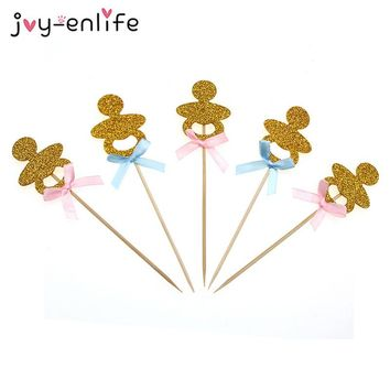 JOY-ENLIFE 3pcs/lot Gold Glitter Baby Pacifier Cupcake Topper Baby Dummy Food Picks Birthday Party Decor Baby Shower Supplies
