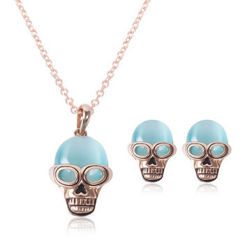 Pinkish Gold Faux Opal Skull Necklace and Earrings