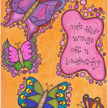 Dave Matthews Band Original Artwork-Butterfly, DMB Art, Lyrics art, Music Art, Lying In The Hands Of God