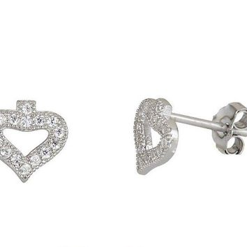 Ace Of Spades Stud Earrings on Cubic Zirconia 18k white gold on Sterling Silver